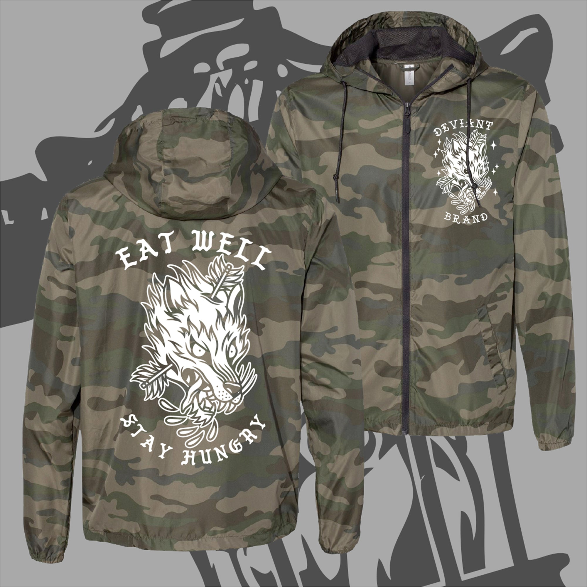 "**NEW** ""Wolf"" Camo Windbreaker Jacket!"