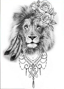 tatouage le lion de bouddha