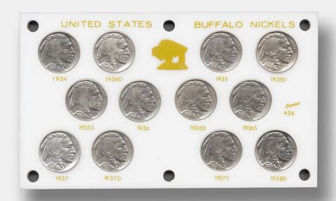 "1934 to 1938 Buffalo Nickel ""Short Set"" - Brilliant Uncirculated"