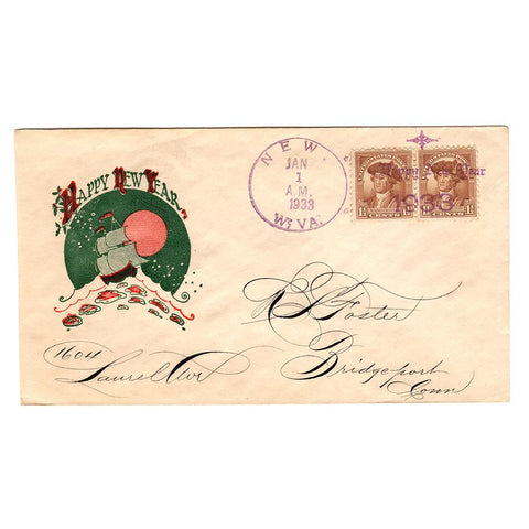 Jan 1, 1933 Happy New Year Cover with Fancy New, WV Cancel