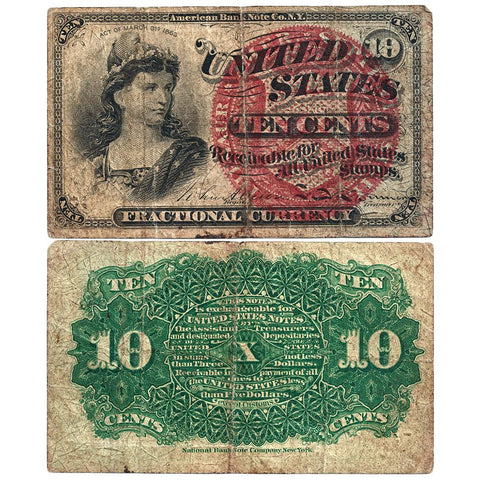 (1869-1875) 4th Issue 10¢ Fractional Fr. 1258 ~ Very Good