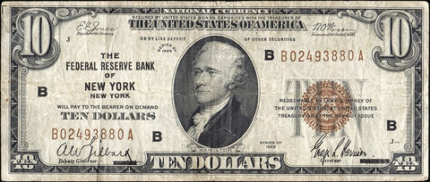 1929 $5 - $10 - $20 Federal Reserve National Bank Notes ~ Fine or Better