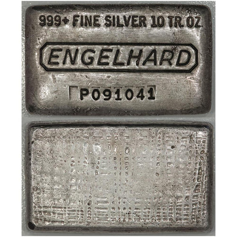 Poured 10 oz .999 Silver Engelhard Bar