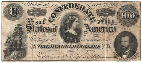 T-56 Apr. 6 1863 $100 Confederate States of America (C.S.A.) - Very Fine