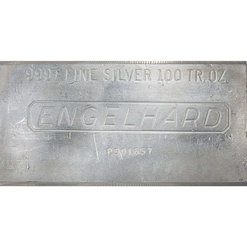 100 oz Engelhard Silver Bars - 1982 - 1987 - In Plastic