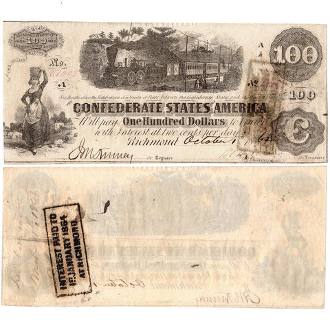 T-40 Oct. 1 1862 $100 Confederate States of America Note PF-1/Cr.298/500 - Extremely Fine