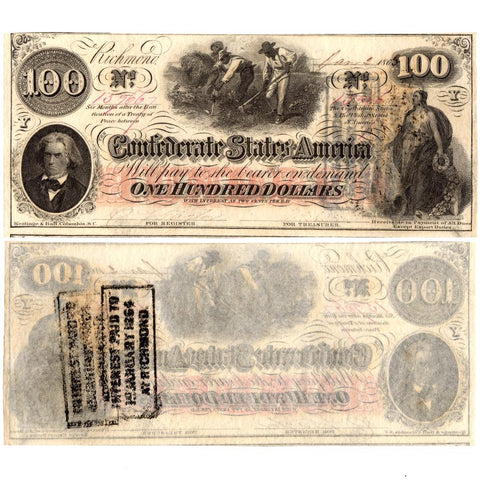 T-41 January 2nd 1863 $100 Confederate States of America Note - Uncirculated