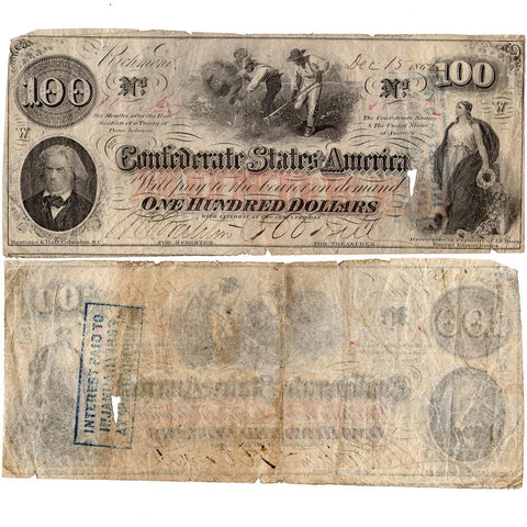 T-41 December 15th 1862 $100 Confederate States of America Note - Net Very Good