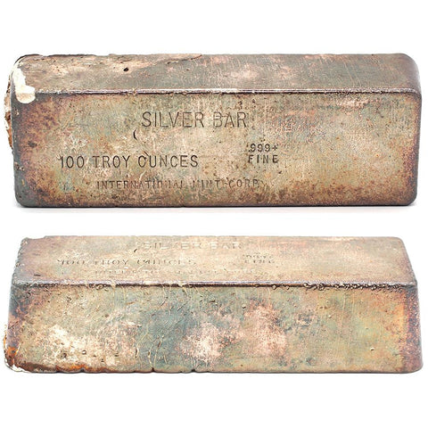 100 oz .999 Silver Bar - International Mint Corp - Poured Bar from the 1970s