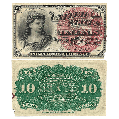 (1869-1875) 4th Issue 10¢ Fractional Fr. 1257 ~ Net Fine