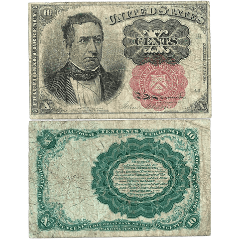 (1874-1876) 5th Issue 10¢ Fractional (Long Key) Fr. 1265 ~ Fine