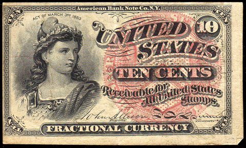 (1869-1875) 4th Issue 10¢ Fractional Fr. 1258 ~ Choice Very Fine