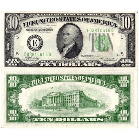 1934-A $10 Federal Reserve Richmond Note Fr. 2006-E - About Uncirculated