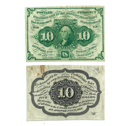 (1862-1863) 1st Issue 10¢ Fractional Fr. 1242 - Very Fine+