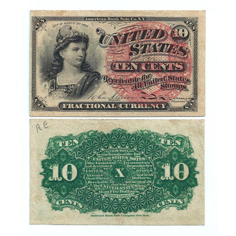 (1869-1875) 4th Issue 10¢ Fractional Fr. 1257 - Choice About Uncirculated