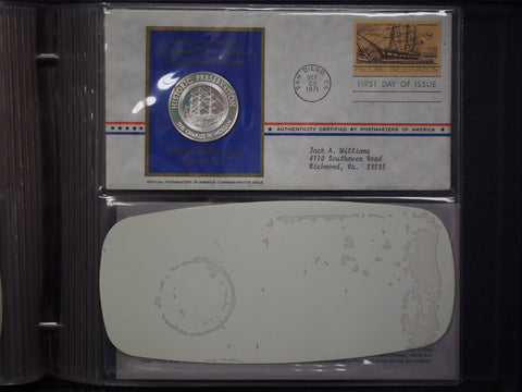1971 Postmasters of America Medallic First Day Covers - 11 Sterling Silver Medals Set