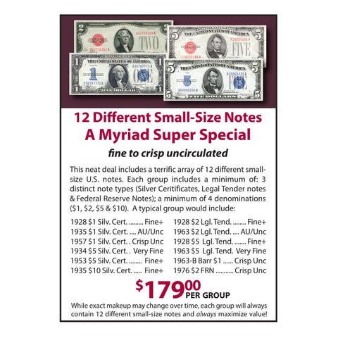 12 Different Small-Size Notes - A Myriad Super Special - Fine to Crisp Unc