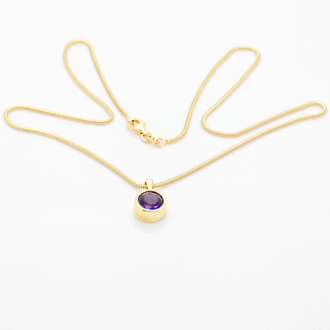 "18"" 14K Gold Necklace with 1.8 Carat Amethyst & Gold Pendant"