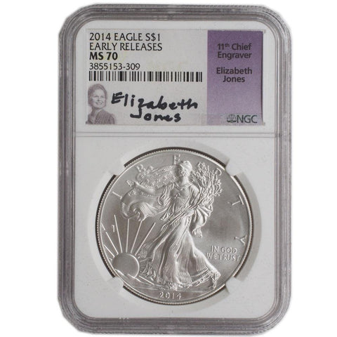 "2014 4-Coin ""Elizabeth Jones"" Silver Eagle NGC Set - MS70/PF70"