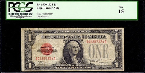 1928 $1 Legal Tender Note Fr. 1500 - PCGS Fine 15