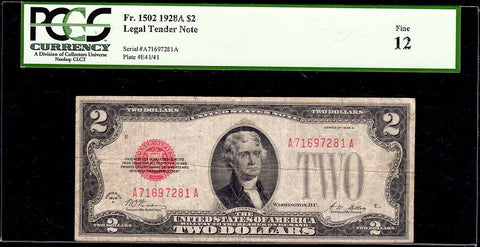 1928-A $2 Legal Tender Note Fr. 1502 - PCGS Fine 12