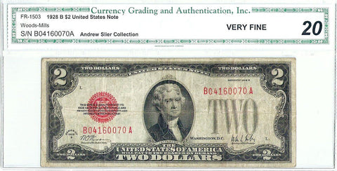 1928-B $2 Legal Tender Note Fr. 1503 - CGA Very Fine 20