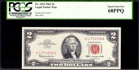 1963 $2 Red Seal U.S. Note Fr. 1513 - PCGS Superb Gem New 68 PPQ