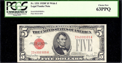 1928-F $5 Legal Tender Note (Wide I) Fr. 1531 - PCGS Choice New 63 PPQ