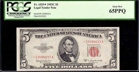 1953-C $5 Red Seal U.S. Star Note Fr. 1535* - PCGS Gem New 65 PPQ