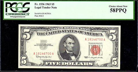 1963 $5 Red Seal U.S. Note Fr. 1536- PCGS Choice About New 58 PPQ