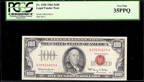 1966 $100 U.S. Legal Tender Note Fr. 1550 - PCGS Very Fine 35 PPQ