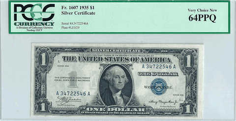 1935 $1 Silver Certificate Fr. 1607 - PCGS Very Choice New 64 PPQ
