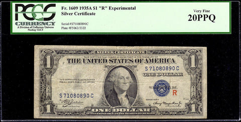 "1935-A $1 Experimental ""R"" Silver Certificate Fr. 1609 - PCGS Very Fine 20"
