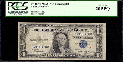 "1935-A $1 Experimental ""S"" Silver Certificate Fr. 1610 - PCGS Very Fine 20"