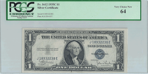 1935-C $1 Silver Certificate Fr. 1612 - PCGS Very Choice New 64