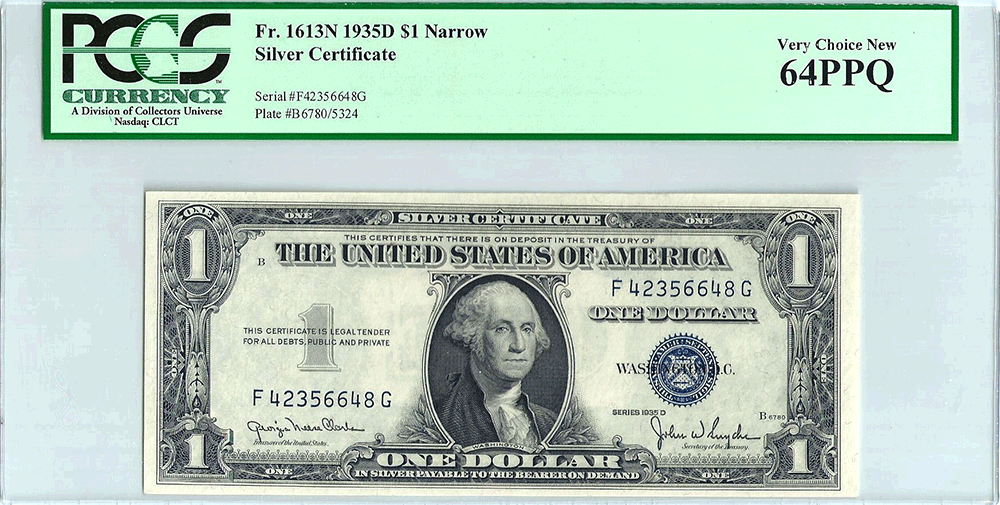 1935-D Narrow $1 Silver Certificate Fr. 1613N - PCGS Very Choice New 6