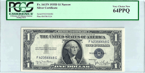 1935-D Narrow $1 Silver Certificate Fr. 1613N - PCGS Very Choice New 64 PPQ