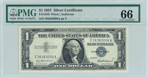 1957 $1 Silver Certificate Star Note Fr. 1619 - PMG Gem Uncirculated 66