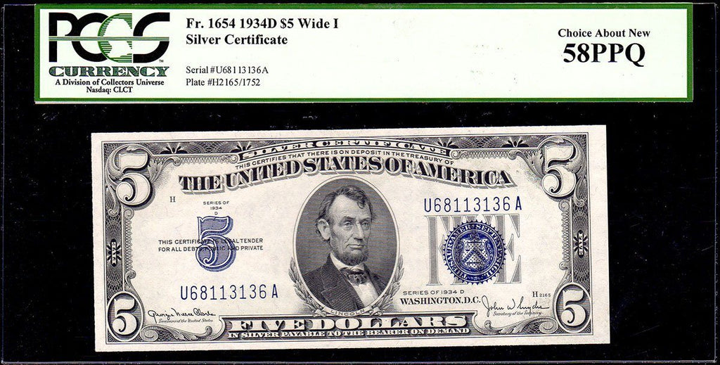 1934 D 5 Silver Certificate Fr 1654 Wide I Pcgs Choice About New