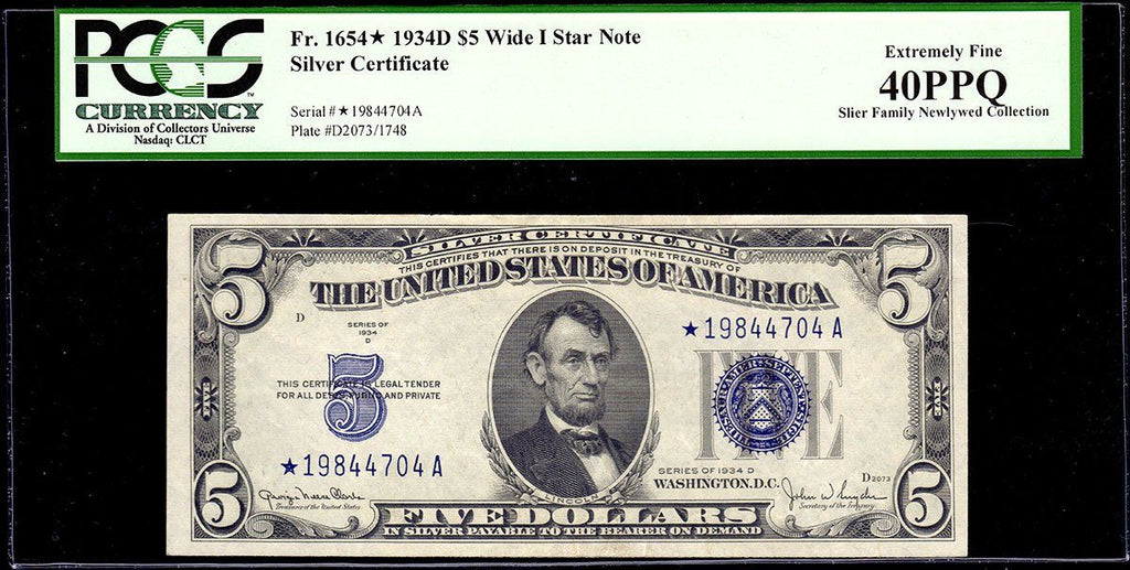 1934 D 5 Silver Certificate Star Note Wide I Fr 1654 Pcgs Extre
