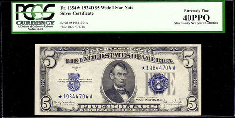 1934-D $5 Silver Certificate Star Note (Wide I) Fr. 1654* - PCGS Extremely Fine 40 PPQ