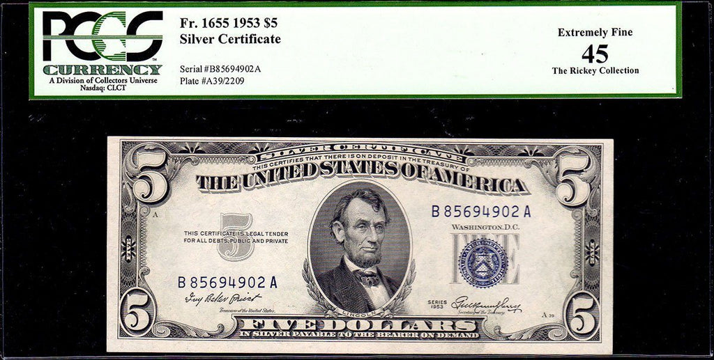 1953 $5 Silver Certificate FR. 1655 - PCGS Extremely Fine 45