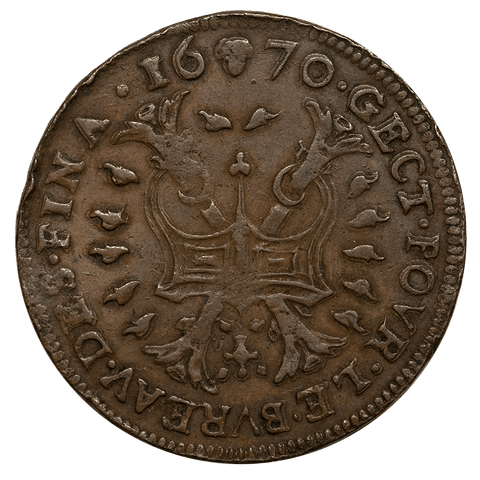 1670 Spanish Netherlands Copper Jeton Mitch PG 2725 - Extremely Fine