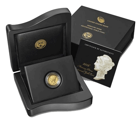 2016-W Centennial Gold Mercury Dime - Gem Uncirculated in Nice OGP