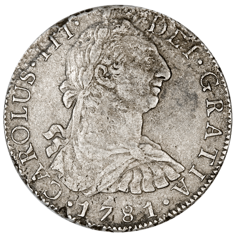 1781-FF Mexico Silver 8 Reales KM.106.2 - Very Fine Details (Salt Water Damage)
