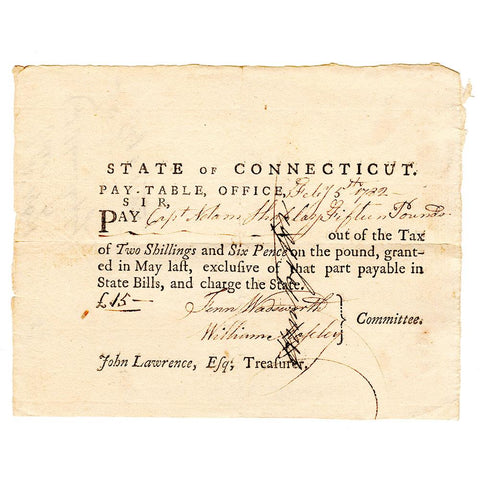 February 5th, 1782 Connecticut Pay-Table £15 Note - Very Fine