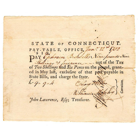 January 22, 1782 Connecticut Pay-Table £9 9s 4p Note - Very Fine