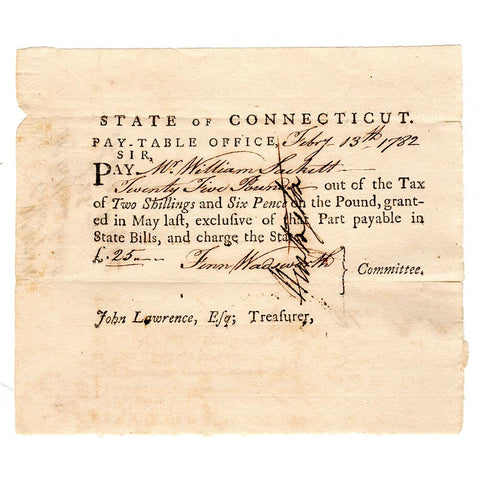 February 13th, 1782 Connecticut Pay-Table £25 Revolutionary War Promissory Note - Very Fine