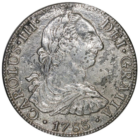 1783-FF Mexico Silver 8 Reales KM.106.2 - Very Fine Details (Salt Water Damage)