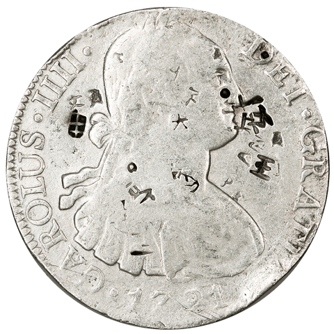 1791-FM Mexico Silver 8 Reales KM.109 - Very Good, Chop Marks